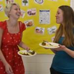 Volunteers enjoying food