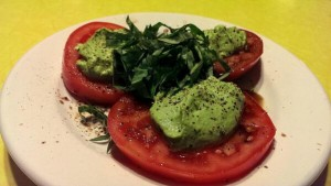 Herbed Pea Ricotta on Garden Fresh Tomatoes with Basil is summer-on-a-plate.