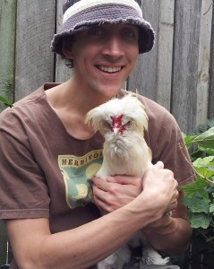 Justin and a chicken