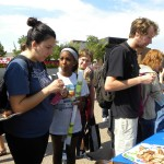 Giving out samples of vegan food