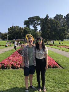 Emily (pictured right) standing with Hayden (on left) outside the San Francisco Conservatory of Flowers