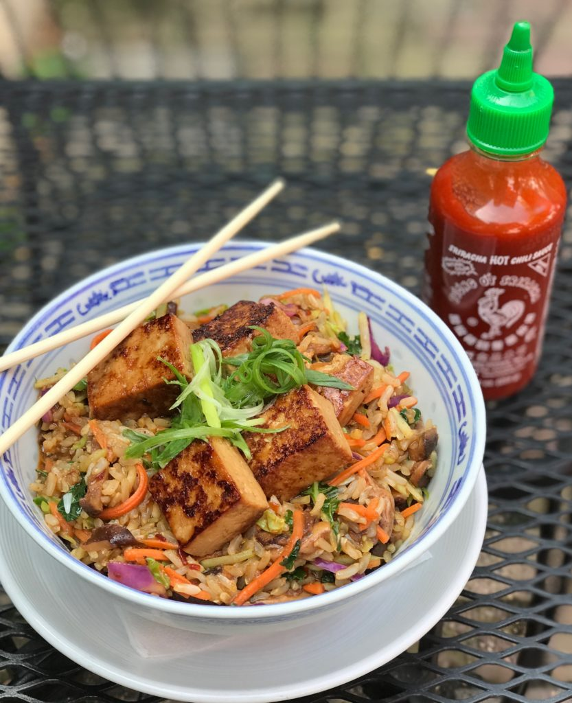 Szechuan Rice Bowl - Organic brown basmati rice, carrots, daikon, kale, Brussel sprouts, napa cabbage, red cabbage, spicy Szechuan sauce, golden toasted tofu